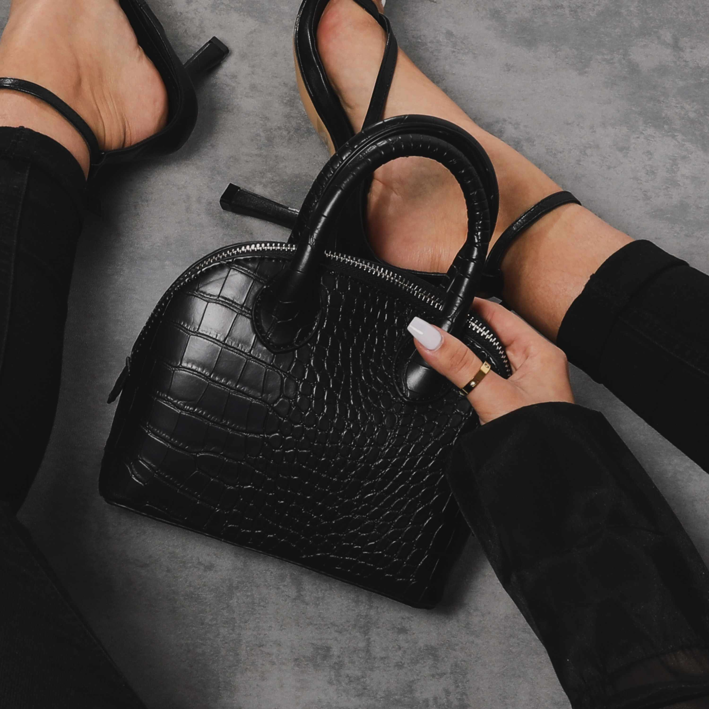 Bowling Bag In Black Croc Print Faux Leather