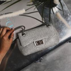 Lock Detail Cross Body Bag In Silver Diamante