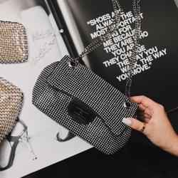Lock Detail Cross Body Bag In Black Diamante