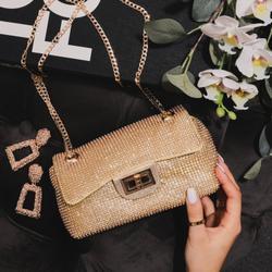 Lock Detail Cross Body Bag In Gold Diamante