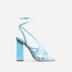 Dancer Square Toe Strappy Block Heel In Blue Patent