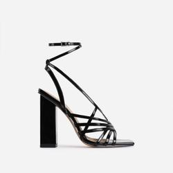 Dancer Square Toe Strappy Block Heel In Black Patent