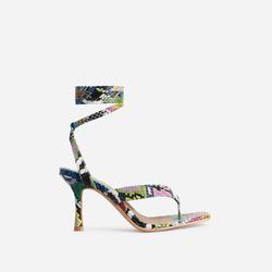 Breezy Square Toe Lace Up Kitten Heel In Multi Snake Print Faux Leather