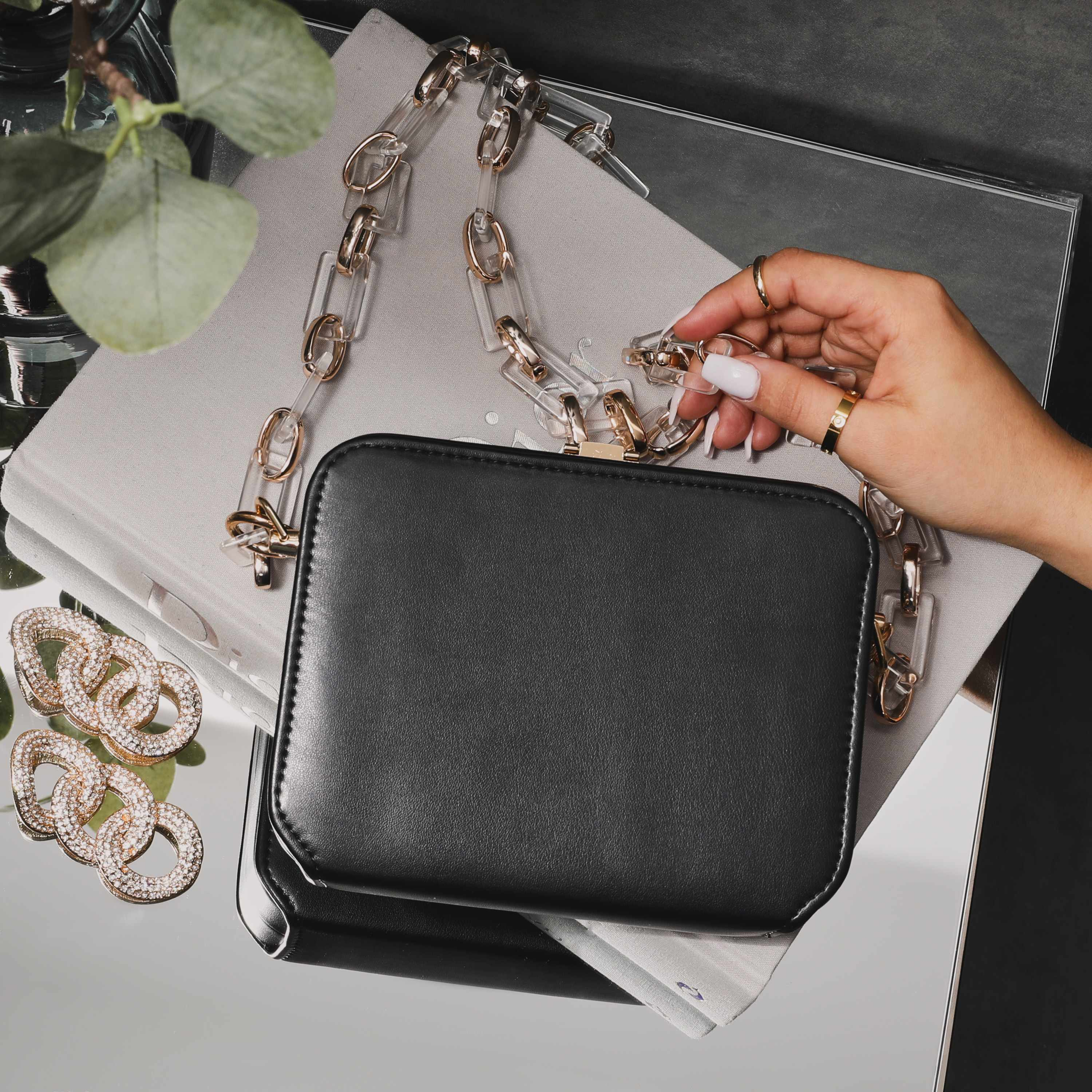 Boxy Cross Body Chain Bag In Black Faux Leather
