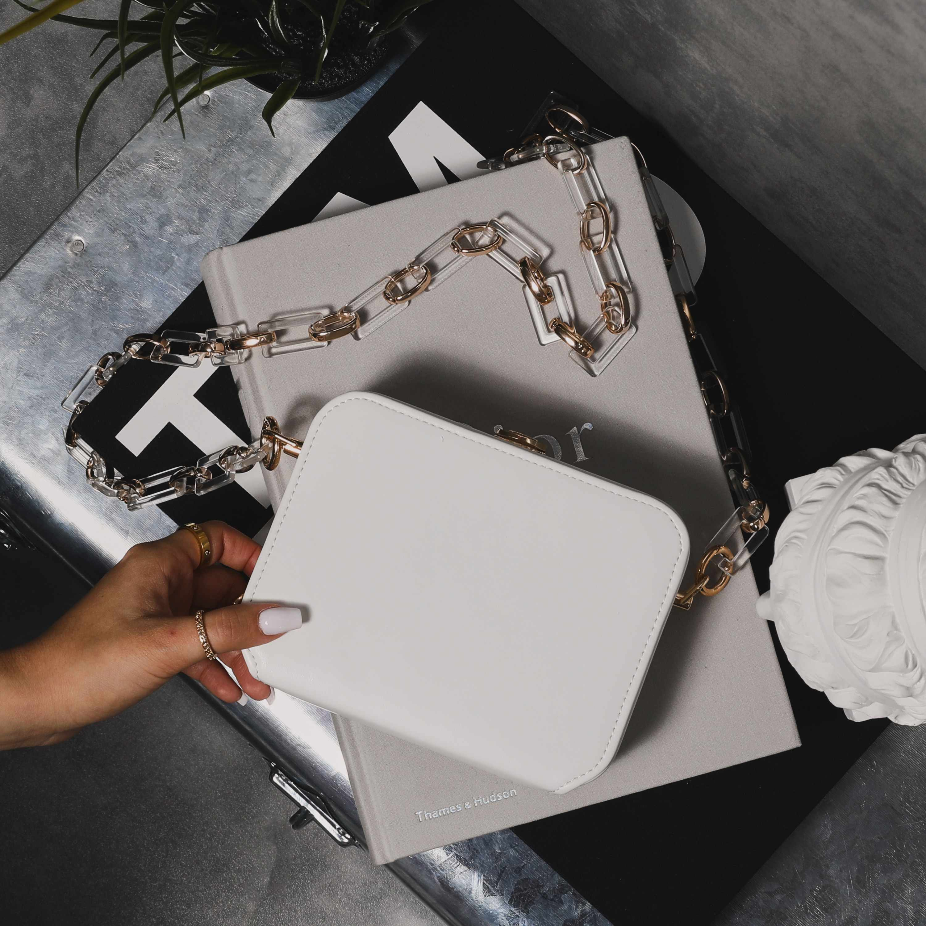 Boxy Cross Body Chain Bag In White Faux Leather