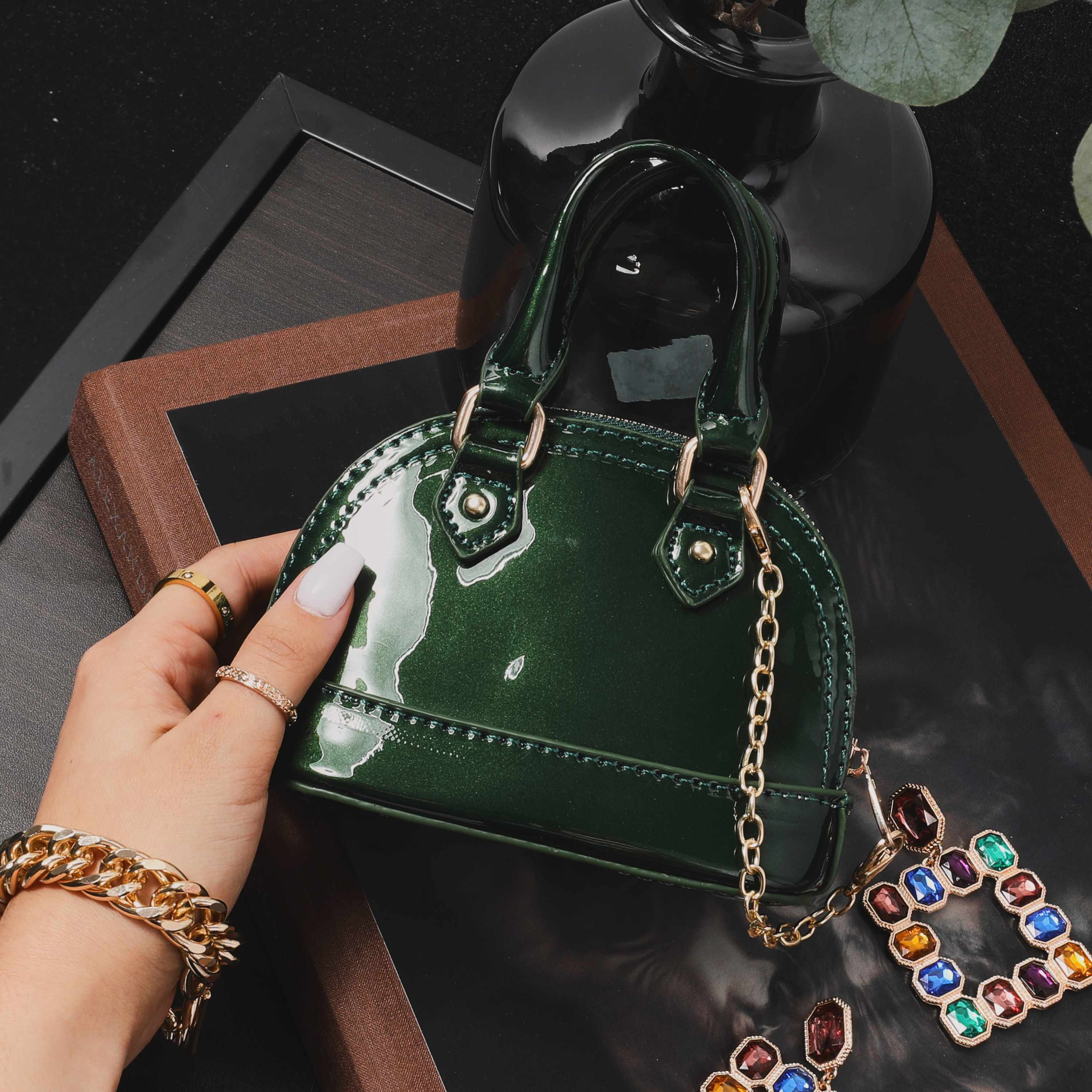 Micro Chain Detail Grab Bag In Green Patent