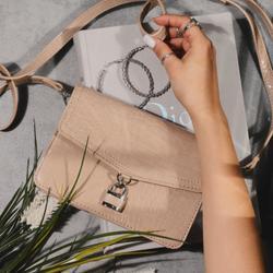 Padlock Detail Crossbody Bag In Nude Croc Print Patent