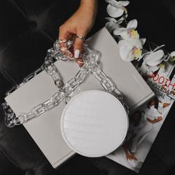Chunky Chain Circle Cross Body Bag In White Croc Print Faux Leather