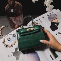 Lock Detail Mini Bag In Green Croc Print Patent