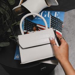 Mini Single Handle Grab Bag In White Croc Print Faux Leather