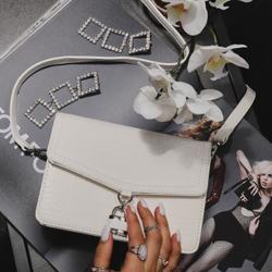 Padlock Detail Crossbody Bag In White Croc Print Patent