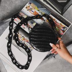 Chunky Chain Circle Cross Body Bag In Black Croc Print Faux Leather
