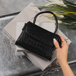 Mini Single Handle Grab Bag In Black Croc Print Faux Leather