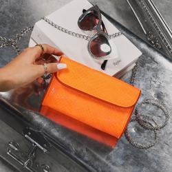 Envelope Cross Body Mini Bag In Orange Faux Leather
