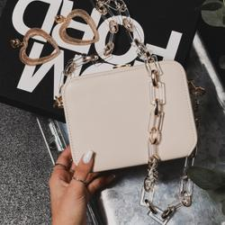 Boxy Cross Body Chain Bag In Nude Faux Leather