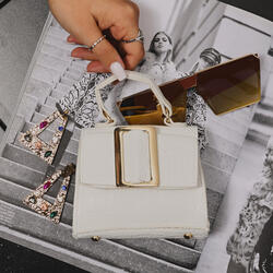 Oversied Buckle Detail Mini Grab Bag In White Croc Print Patent