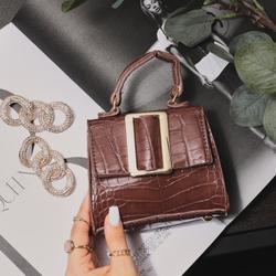 Oversized Buckle Detail Mini Grab Bag In Brown Croc Print Patent