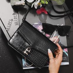 Padlock Detail Crossbody Bag In Black Croc Print Patent