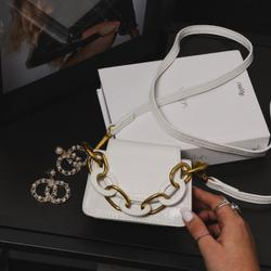 Chunky Chain Detail Cross Body Bag In White Croc Print Faux Leather