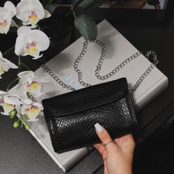 Envelope Cross Body Mini Bag In Black Faux Leather