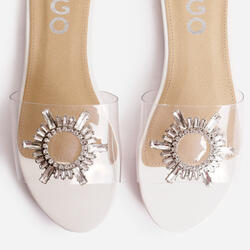 Darling Diamante Detail Flat Sandal In White Patent