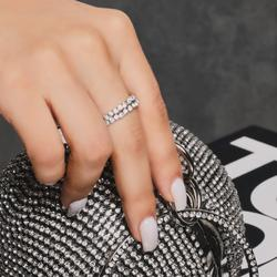 Diamante Detail Ring In Silver