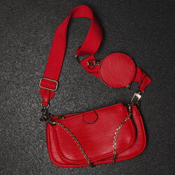 Chain And Purse Detail Cross Body Bag In Red Snake Print Faux Leather