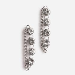 Diamante And Chain Detail Earring In Silver