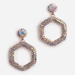 Diamante Detail Hexagon Earrings In Gold
