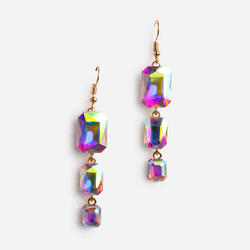 Holographic Stone Drop Earring In Gold