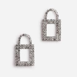 Padlock Diamante Detail Earrings In Silver