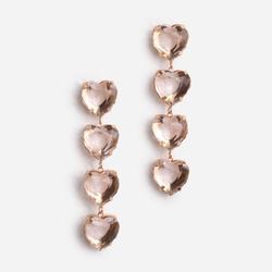 Heart Stone Drop Earrings In Gold