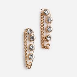Diamante And Chain Detail Earring In Gold