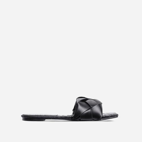 New Rules Woven Square Toe Flat Slider Sandal In Black Faux Leather