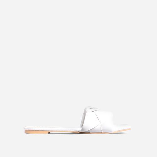 New Rules Woven Square Toe Flat Slider Sandal In White Faux Leather
