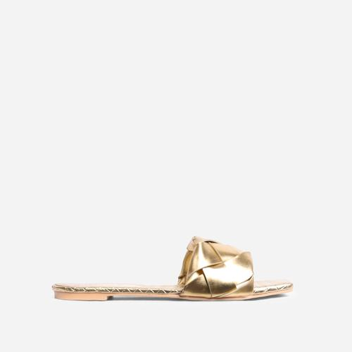 New Rules Woven Square Toe Flat Slider Sandal In Metallic Gold Faux Leather