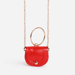Circle Handle Super Mini Bag In Red Faux Leather