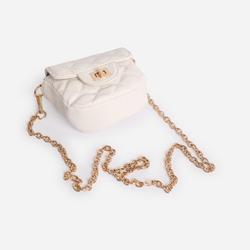 Quilted Cross Body Bag In White Faux Leather