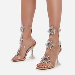 Shine Diamante Detail Caged Perspex Square Toe Heel In Nude Patent