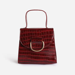 Hoop Detail Grab Bag In Burgundy Croc Print Patent