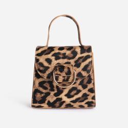Hoop Detail Grab Bag In Leopard Print Faux Leather