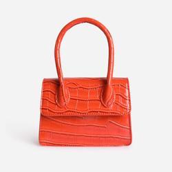 Single Handle Cross Body Bag In Orange Croc Print Patent
