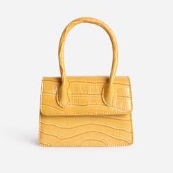 Single Handle Cross Body Bag In Yellow Croc Print Patent