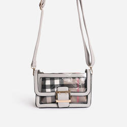 Check Print Detail Perspex Cross Body Bag in Grey Faux Leather