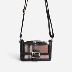 Check Print Detail Perspex Cross Body Bag in Black Faux Leather