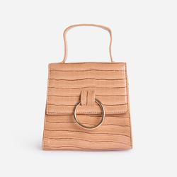 Hoop Detail Grab Bag In Nude Croc Print Patent