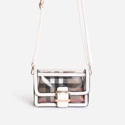 Check Print Detail Perspex Cross Body Bag in White Faux Leather