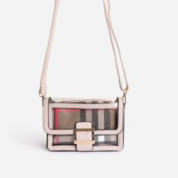 Check Print Detail Perspex Cross Body Bag in Nude Faux Leather