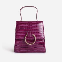 Hoop Detail Grab Bag In Purple Croc Print Patent