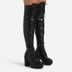 Blogger Chunky Sole Lace Up Over The Knee Thigh High Long Boot In Black Croc Print Faux Leather